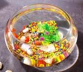 流水擺件 辦公室小魚缸加厚透明玻璃烏龜缸客廳家用桌面圓形迷你小型金魚缸 名創