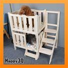 寵物床雙層床單層床有頂實木衫木狗床貓床貓床狗狗雙層床動物狗窩貓窩【AAA3215】預購