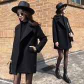 短版大衣 寬鬆百搭修身毛呢大衣休閒黑色呢子外套  都市時尚