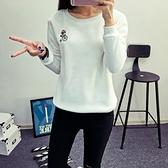 長袖針織衫-卡通刺繡休閒百搭女T恤6色73hn52[時尚巴黎]