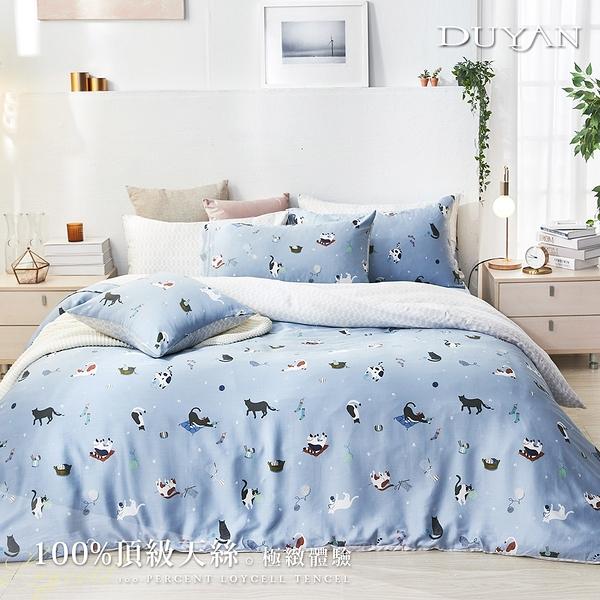 《DUYAN竹漾》100%天絲-雙人床包被套四件組-貓咪日常