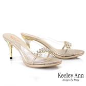 Keeley Ann時尚膠片 MIT性感透明骨感高跟拖鞋(金色)