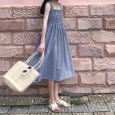 吊帶裙夏裝女裝小清新格子一字領露肩無袖連身裙顯瘦長裙學生 法布蕾輕時尚