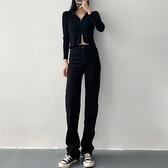 牛仔褲 秋冬新款高腰顯瘦顯高修身小腳黑色直筒加絨牛仔褲女長褲子 交換禮物