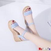 【伊人閣】楔形涼鞋 坡跟涼鞋 高跟 一字帶 厚底