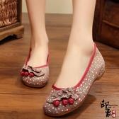 布鞋女中老年女花布鞋老太太防滑媽媽休閒單鞋 週年慶降價