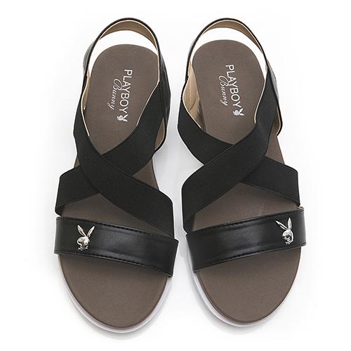 PLAYBOY 交叉鬆緊寬帶涼拖鞋-黑(Y6299)