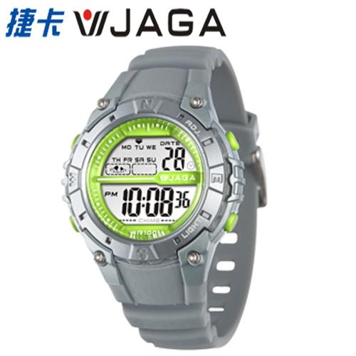 JAGA 捷卡 - M1113-C 動感亮眼時尚 多功能電子錶-灰色