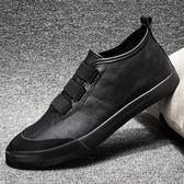 板鞋男 男鞋子 秋冬一腳蹬韓版潮流百搭皮鞋黑色青年懶人鞋休閒鞋《印象精品》q2011