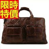 真皮行李袋-實用可肩背商務大容量男手提包1色59c22【巴黎精品】