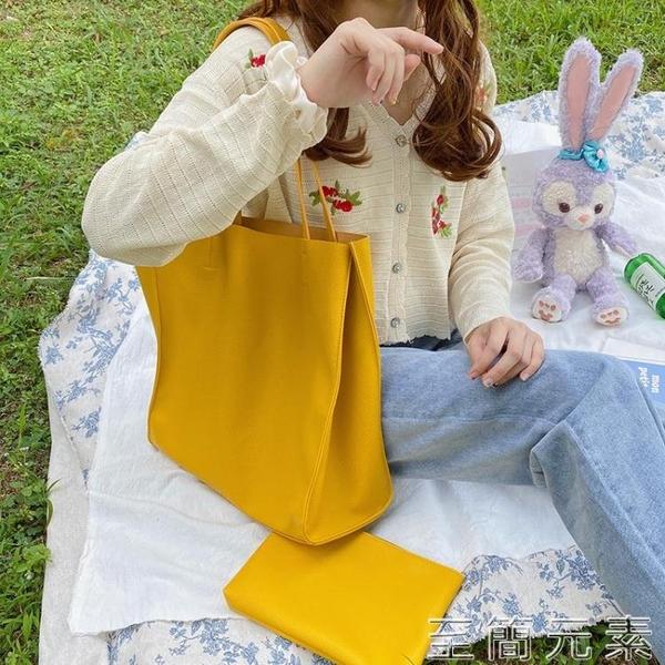 新款時尚荔枝紋托特包百搭ins單肩購物袋子母包休閒軟大包女