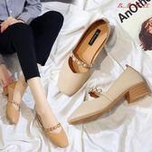 單鞋女英倫風小皮鞋方頭中跟鞋子 衣普菈