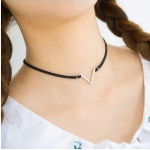 項鍊 韓版 簡約 百搭 麂皮 絨繩 幾何 V字形 項圈 頸鏈 女款 短項鏈 流行 時尚 個性 甜美 潮