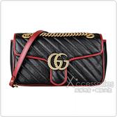 GUCCI Marmont Mini 雙G金屬LOGO牛皮扣式鏈帶肩/斜背包(紅黑)