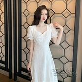 蕾絲洋裝 開叉白色洋裝女仙在逃公主裙超仙法式茶歇裙顯瘦初戀裙子長裙夏 衣櫥秘密