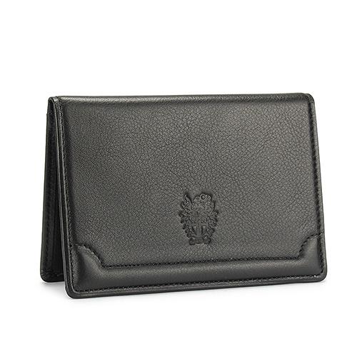 DAKS經典家徽壓紋軟皮革證件名片夾(黑色)230194-01