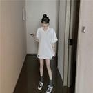 中長款T恤 粉色長版大白體寬鬆t恤女白色短袖v領中長款純棉大領口上衣ins潮 店慶降價