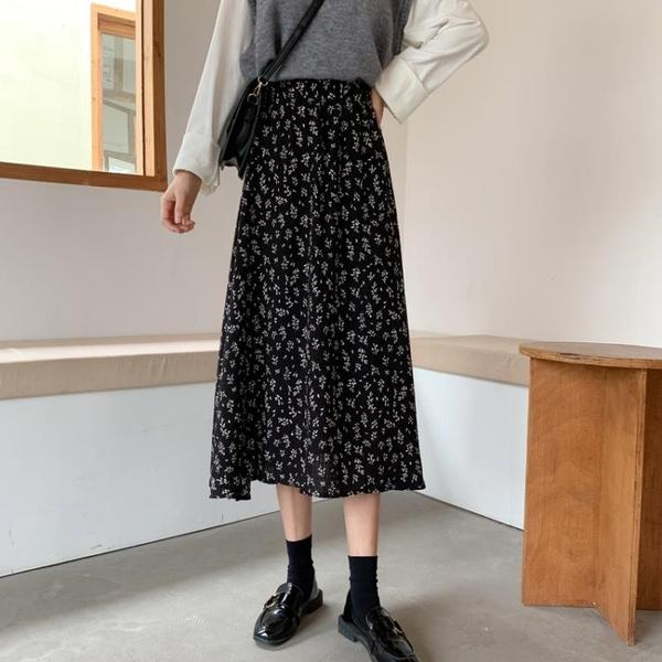2021夏季新款高腰A字半身裙女中長款小個子春夏雪紡碎花春款長裙