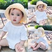 新生嬰兒連身衣服短袖夏裝女寶寶包屁衣睡衣三角哈衣公主夏季薄款 幸福第一站