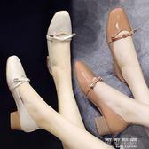 粗跟單鞋女夏韓國百搭軟皮中低跟方頭蝴蝶結淺口奶奶鞋子 可可鞋櫃