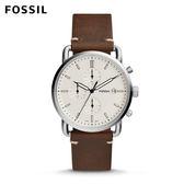 FOSSIL The Commuter 移動紳士 三眼計時白色錶面咖啡色皮革手錶 男 FS5402
