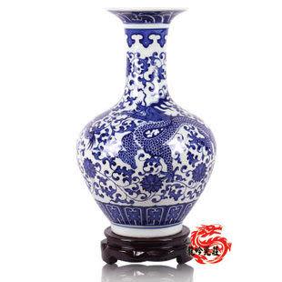 景德鎮陶瓷器花瓶 官窯祥龍青花瓷