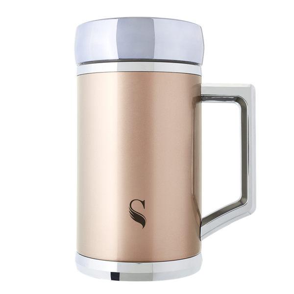 【ikuk】真空雙層內陶瓷保溫杯-400ml辦公杯(告別金屬味)玫瑰金