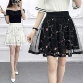 85折短裙女韓版鬆緊高腰網紗半身裙百褶裙褲裙開學季