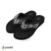 Paidal 民族風寬版膨膨氣墊美型厚底夾腳拖鞋涼鞋-時尚黑