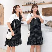 中大尺碼胖mm夏季短袖連身裙韓版女裝加肥加大遮肚顯瘦假兩件裙【2032】