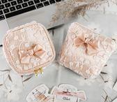 原創蕾絲蝴蝶結衛生巾收納包 衛生棉包 便攜迷你化妝包拉鍊小包 至簡元素