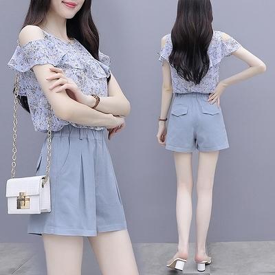 兩件套短袖韓版實拍時尚套裝女夏裝新款韓版輕熟風職業裝雪紡闊腿短褲兩件套NE406紅粉佳人