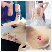 紋身貼紙 紋身貼防水持久 女大圖花朵玫瑰 影樓寫真遮疤痕紋身貼紙 10張【優兒寶貝】