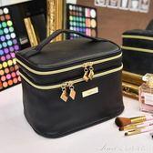 手提化妝包女士手拿包迷你黑色小淑女便攜小方包雙層大容量收納包艾美時尚衣櫥