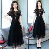 M-4XL胖妹妹洋裝連身裙~短袖蕾絲繡花連身裙.T135A衣時尚