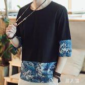 民族風上衣中國風短袖印花拼接t恤夏季新款七分袖T恤男大碼 FR9739『男人範』