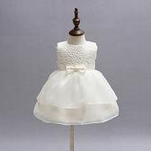 花童 玫瑰蕾絲氣質包裙小禮服 周歲 婚紗全家福攝影 橘魔法 現貨 白色禮服 婚禮洋裝 紗裙 女童