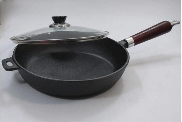 幸福居*加厚鑄鐵鍋平底不粘無塗層電磁爐通用煎鍋烙餅煎蛋煎餃牛排鍋(直徑26公分單鍋+玻璃蓋)