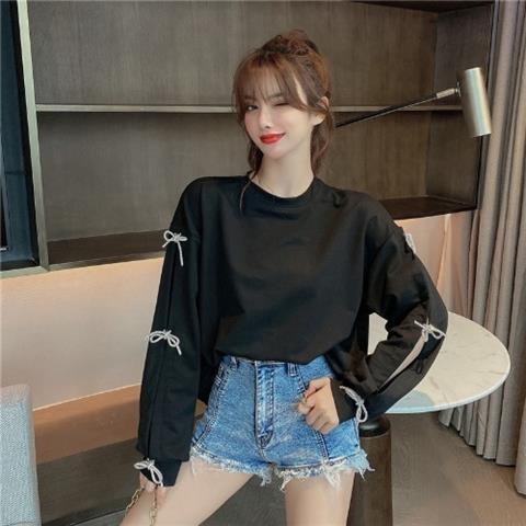 2021新品特惠 衛衣女新款韓版設計感小眾蝴蝶結拼接長袖寬松百搭顯瘦上衣