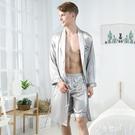 春夏季男士冰絲長袖睡袍套裝夏天絲綢短褲浴袍紡真絲睡衣薄款浴衣 極簡雜貨