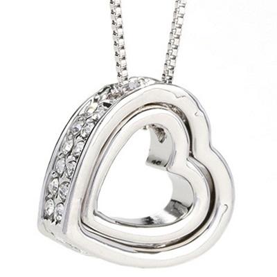 925純銀項鍊 鑲鑽墜飾-心型鏤空短款生日母親節禮物女飾品4色73aj7【巴黎精品】
