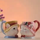 彩繪馬克杯(一對)-立體貓咪造型情侶對杯...