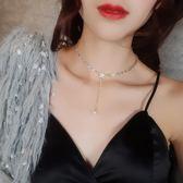 鎖骨鏈/滿鉆星星短款珍珠吊墜項鏈簡約韓國脖子飾品chocker