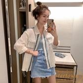襯衫女小香風Polo領七分袖上衣設計感襯衣百搭顯瘦【繁星小鎮】