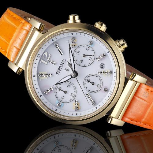 SEIKO精工 LUKIA 繽紛晶鑽太陽能女腕錶  V175-0DY0Y  SSC842J1