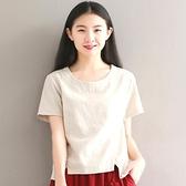 短款棉麻短袖t恤女媽媽亞麻棉襯衫上衣夏小衫時尚寬鬆洋氣不規則