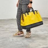帆布側背包-牛皮/杜邦紙拼色休閒大容量男女手提包2款73ym17【巴黎精品】