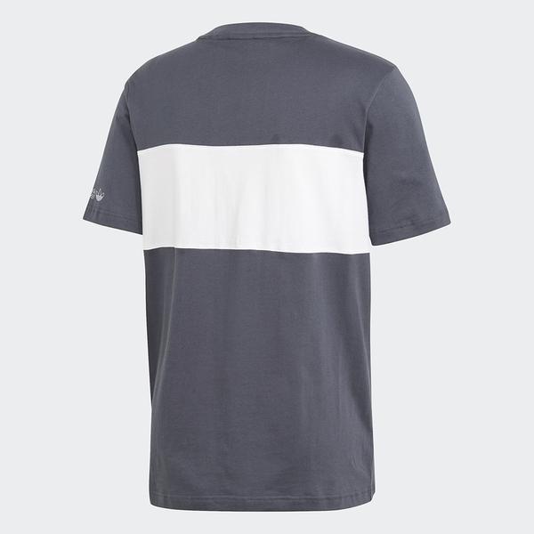 ADIDAS PANEL TREFOIL 男裝 短袖 休閒 拼接 純棉 灰 白【運動世界】GD5787