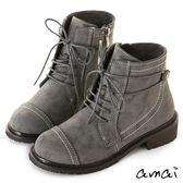 amai牛仔風拼接綁帶拉鍊軍靴 灰