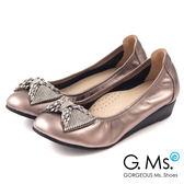 G.Ms.*  MIT系列-牛皮鑽飾串珠蝴蝶結小坡跟鞋-華麗銀